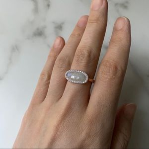 Rose gold-plated moonstone and diamond pave ring